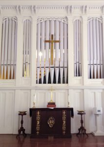 FEDERATED CHURCH, MARLBOROUGH, NH - TWO MANUAL  Allen Organ Chamber series CF-15 drawknob console. 33 stops including: 6 pipe stops on the Great Division and 26 digital stops. We provided all new pipe components and re-designed the pipe chamber to provide better sound egress and service access.